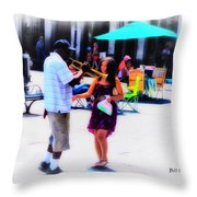 Playing For A Pretty Girl - New Orleans Throw Pillow