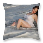 Playing In The Surf Throw Pillow