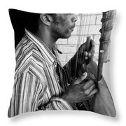 Playing The Koro - Black And White Throw Pillow