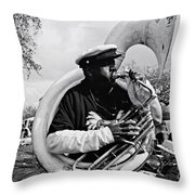 Playing To The Crowd - Bw Throw Pillow