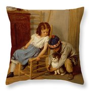 Playing With Kitty  Throw Pillow