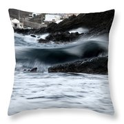 playing with waves 2 - A beautiful image of a wave rolling in noth coast of Menorca Cala Mesquida Throw Pillow