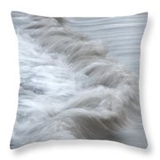 playing with waves 3 - Mediterranean sea foam playing with black stones in cala mesquida - menorca Throw Pillow