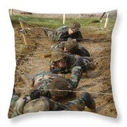 Plebes Low Crawl Under Barbwire As Part Throw Pillow