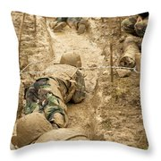Plebes Navigate The Low Crawl Obstacle Throw Pillow