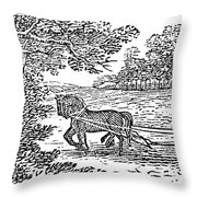 Ploughing, 19th Century Throw Pillow by Granger