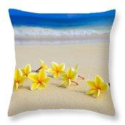 Plumerias On Beach II Throw Pillow