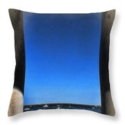 Plymouyh Harbor And Columns Throw Pillow