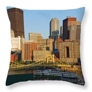 Pnc Park And River Boat Throw Pillow