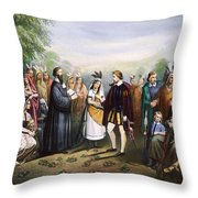 Pocahontas & John Rolfe Throw Pillow