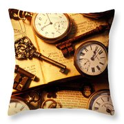 Pocket Watches And Old Keys Throw Pillow