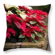 Poinsettia Garden Throw Pillow