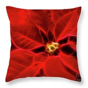 Poinsettia Red Christmas Flower Abstract Artwork Throw Pillow
