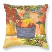 Poinsettias Holly And Table Fruit Throw Pillow