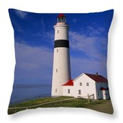 Point Lamour Lighthouse Overlooking Throw Pillow