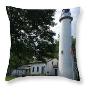 Pointe Aux Barqes Lighthouse Throw Pillow