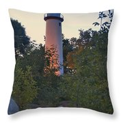Pointe Aux Barques Lighthouse 7072 Throw Pillow