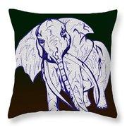 Pointillism Elephant Throw Pillow