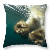 Polar Bear Swiming Away Wager Bay Canada Throw Pillow
