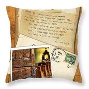 Polaroid Of Open Door To Church With A Bible Verse Throw Pillow