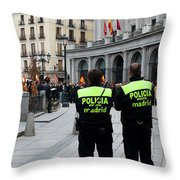 Policia Madrid Throw Pillow