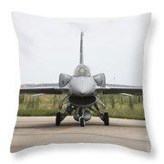 Polish F-16c Block 52 At Albacete Throw Pillow