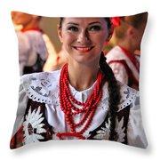 Polish Folk Dancing Girl Throw Pillow