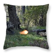 Polish Soldiers Engage In Simulated Throw Pillow