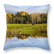 Pond And Cattle Near Mansonville Throw Pillow