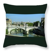 Ponte Sant'angelo In Rome Throw Pillow