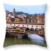 Ponte Vecchio From Uffizi Throw Pillow