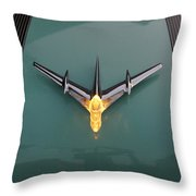 Pontiac Hood Ornament Lit Throw Pillow