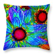 Pop Art Daisies 2 Throw Pillow