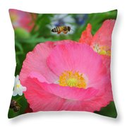Poppies And Pollinator Throw Pillow