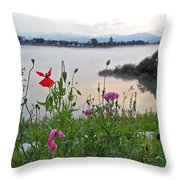 Poppies By The River Throw Pillow