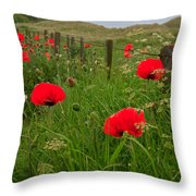 Poppies By The Roadside In Northumberland Throw Pillow