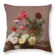 Poppies In A Crystal Vase - Or Basket Of Roses Throw Pillow