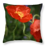 Poppies With Impressionist Effect Throw Pillow