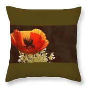 Poppy And Lace Throw Pillow