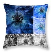 Poppy Blue - Macro Flowers Fine Art Photography Throw Pillow