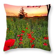 Poppy Patch And Previsualization Throw Pillow