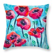 Poppy Sky Throw Pillow
