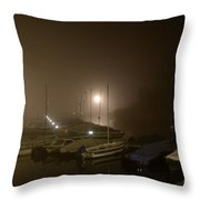 Port At Night In The Fog Throw Pillow