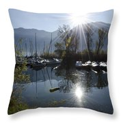 Port In Backlight Throw Pillow