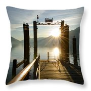 Port On In Sunset Throw Pillow
