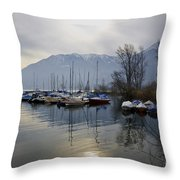Port With Snow-capped Mountain Throw Pillow