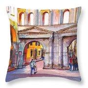 Porta Borsari Verona  First Century Ad Roman Gate Throw Pillow