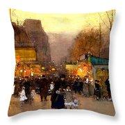 Porte St Martin At Christmas Time In Paris Throw Pillow