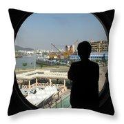 Porthole Silhouette Throw Pillow