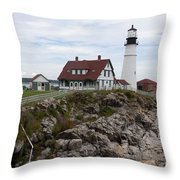 Portland Head Light Cape Elizabeth Fort Williams Maine Throw Pillow
